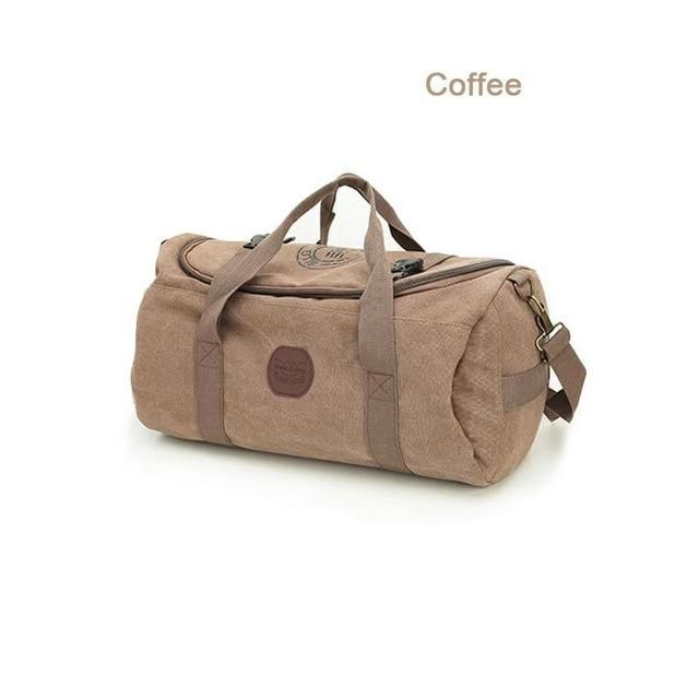 Bucbon 30L Classic Canvas Cylindrical Gym Bag Sports Bag For Women Fitness Large Capacity Travel Shoulder Duffel Bag Men HAB129