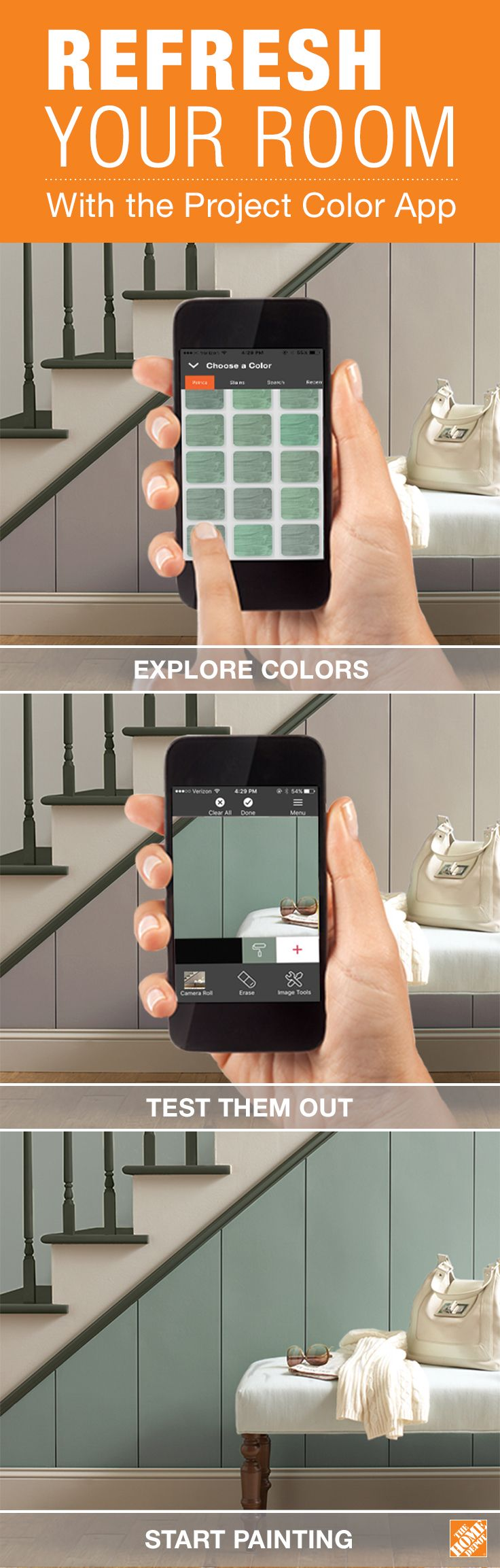 "Search ""Project Color by The Home Depot"" on your iPhone or Android to download the app today! The Project Color app by The Home Depot allows you to try out paint colors virtually. When you're thinking about redecorating a room or refreshing your walls, consult the app to test out your new color choices, like BEHR Underground Gardens pictured here. Download the app, and start trying out new paint colors now."