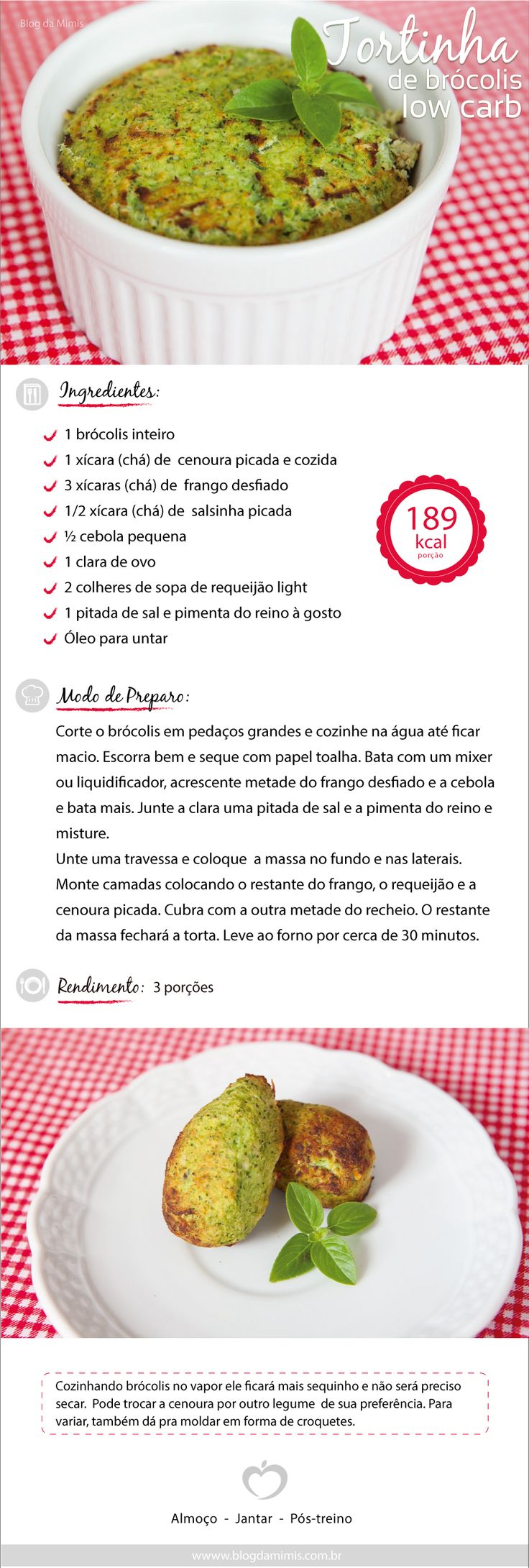 Tortinha de brócolis low carb