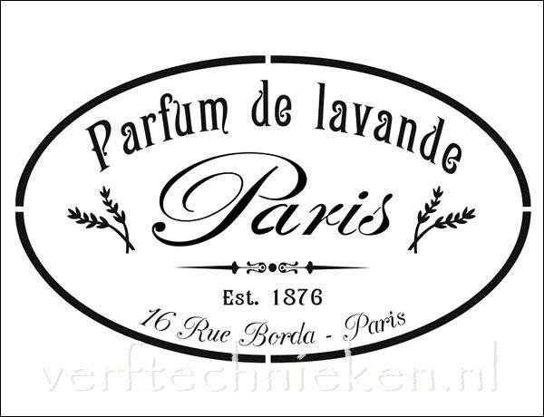 Shabby Chic sjabloon Parfum Lavande Paris. Verkrijgbaar in A3 formaat. Exclusief bij verftechnieken.nl
