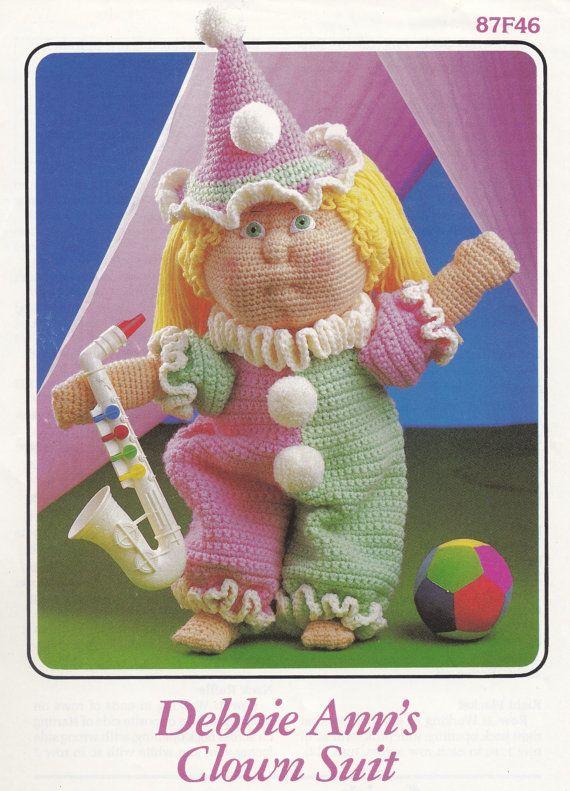 Debbie Ann's Clown Suit, Annie's Attic Crochet Doll Clothes Pattern Booklet 87F46