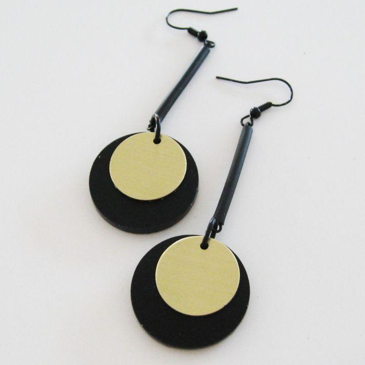Örhängen, plexiglas, aluminium, gummi, cirkel Earrings, plexiglass, aluminium, rubber, circle