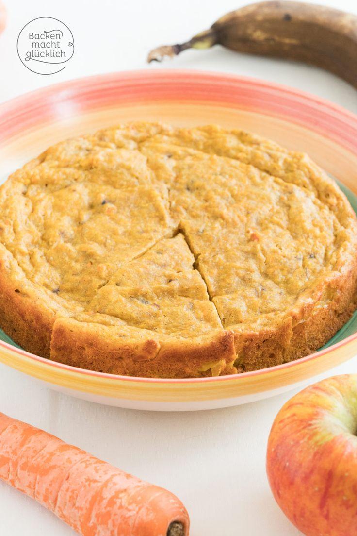 Apfel-Karotten-Kuchen ohne Zucker: Dieser fruchtige Kuchen ohne Zucker und Butter ist schön saftig, nur leicht süß und schmeckt dezent nach Kokos. Ein toller Kinderkuchen, Babykuchen und Kuchen für alle, die gerne gesund und natürlich genießen.