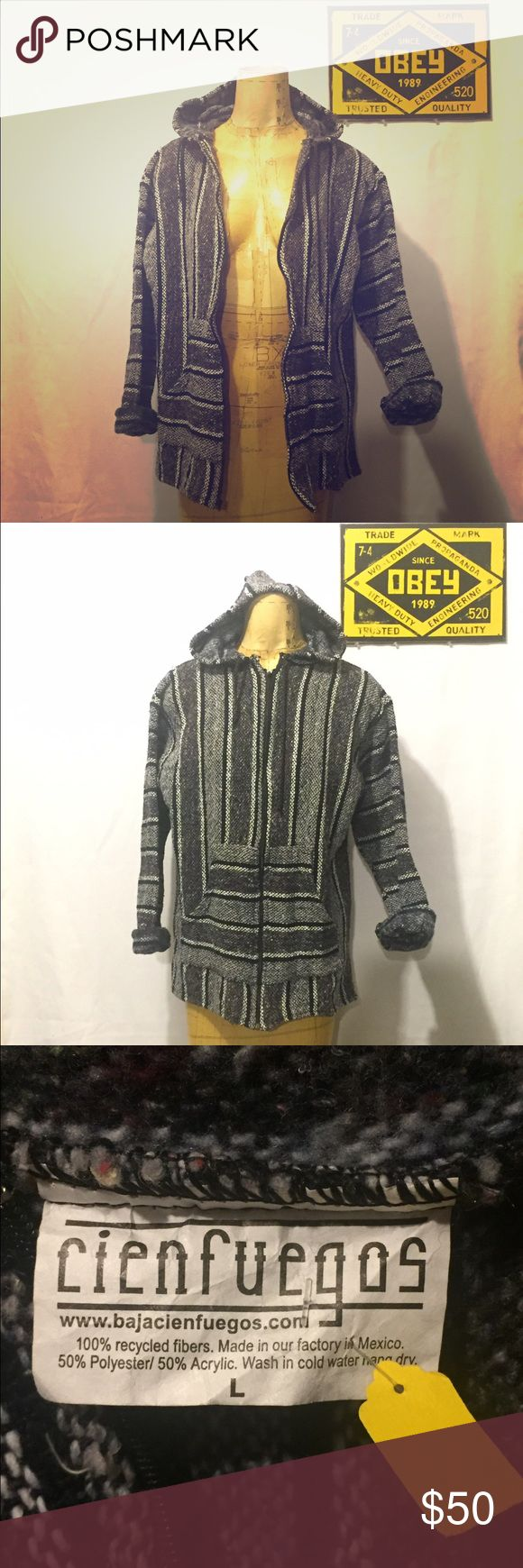 Zip-up Baja Jacket. NWT Zip-up Baja Jacket by Cienfuegos. Awesome Baja Jacket! Rare to see one that zips up like this! Size Large! Great for Festivals! Two front pockets big enough to fit and iPhone 6 Plus! Cienfuegos Jackets & Coats Utility Jackets