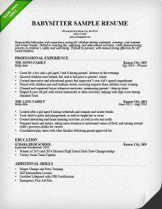 babysitter resume sample