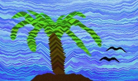 Spelen met gekleurd zand, mooi hé!  Making a palmtree with salt or sand.