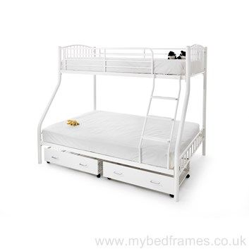 Oslo three sleeper metal #bunkbed in white