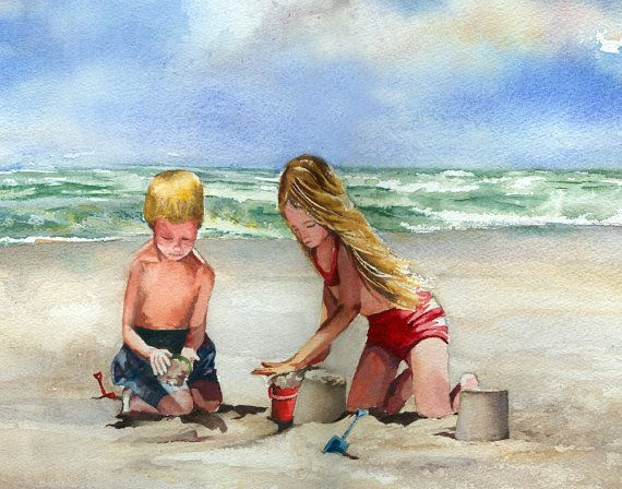 Building Sandcastles at the Shore beach watercolor by baylesdesign