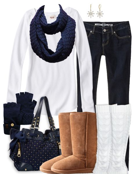 Classic Winter Fashion minus the bag i rather match that with a black MICHAEL Michael Kors Hamilton Large Logo Tote and i would change the earings to pearl or diamond in my opinion