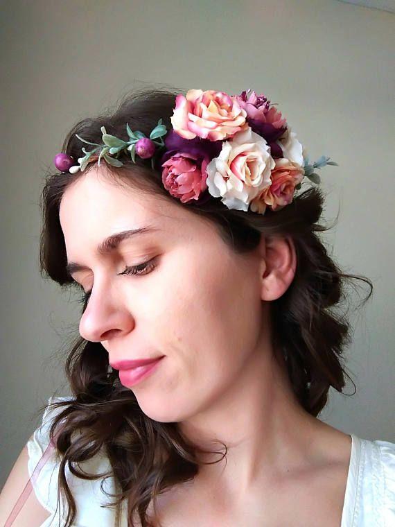 Pink purple  flower crown hair flowers wedding flower crown
