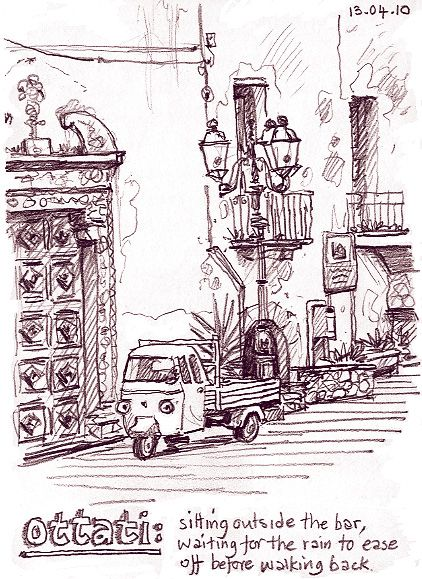 Lynne Chapman - Italy travel sketchbook.  3B pencil (tinting in Photoshop)