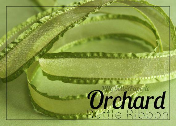 "5/8"" Sheer Ruffle Edge Ribbon - Orchard"