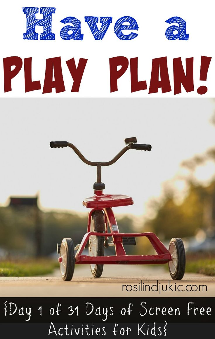 To win the screen war with your kids you need to have a play plan. Here is day one of screen free activities for your kids