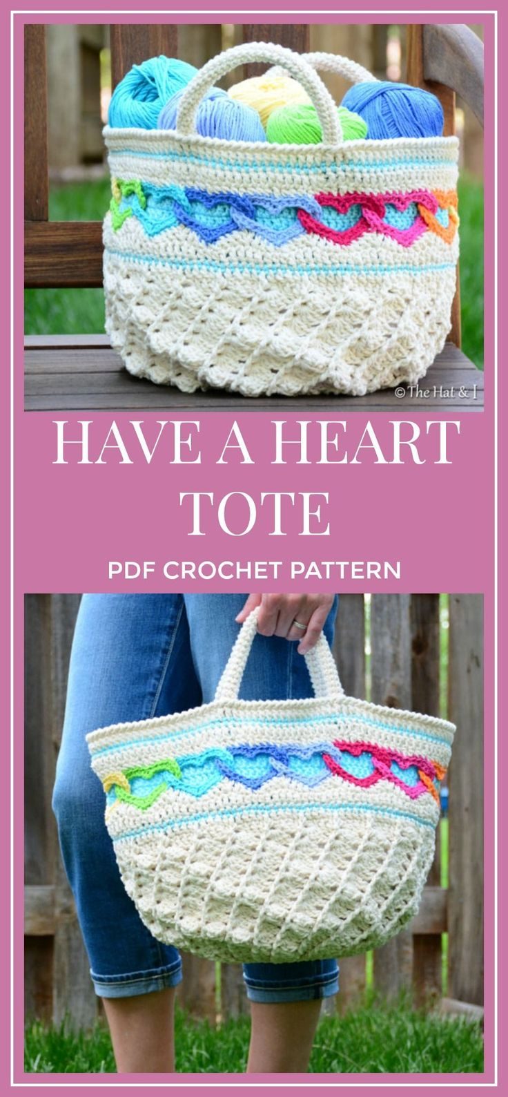 CROCHET PATTERN - Have a Heart Tote - a crochet heart tote pattern, crochet bag pattern, linked hearts purse pattern - Instant PDF Download #crochet #crochetpattern #tote #affiliate #crochetlove #heart