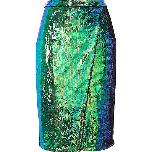 SHOP | Wear with an oversized jumper for day, turquoise sequin wrap midi skirt.