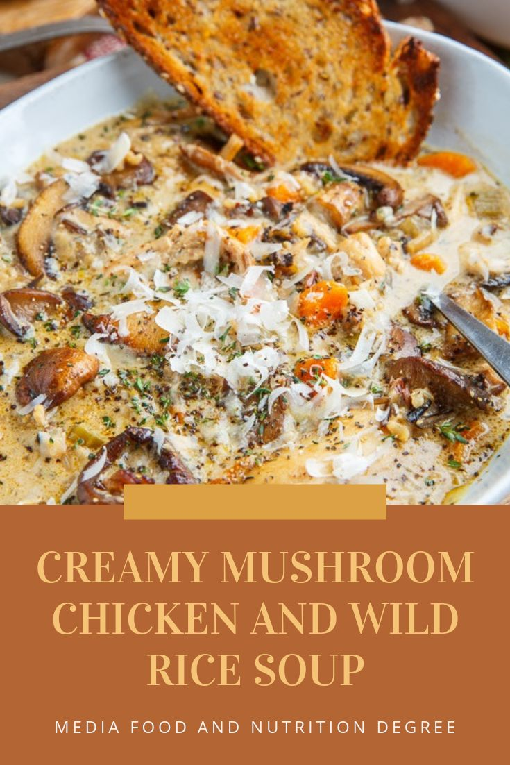 Mar 29, 2020 – CREAMY MUSHROOM CHICKEN AND WILD RICE SOUP #HEALTHYFOOD #SOUP A warm and rich mushroom, chicken and wild …
