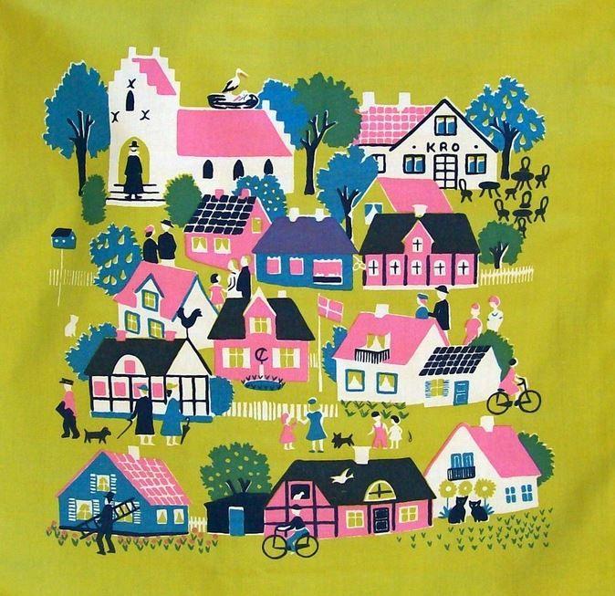 vintage illustration houses village bright colors