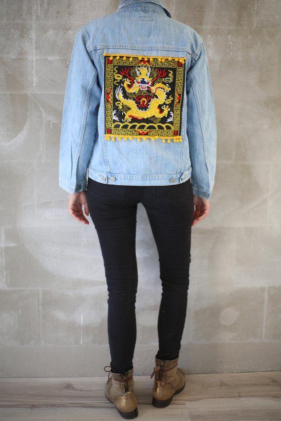 Japanese Dragon Patched Denim Jacket/Woman Pompom Jeans Jacket 90s/Teenage Biker Jacket/VTG Light Blue Festival Boho Harajuku Street Jacket