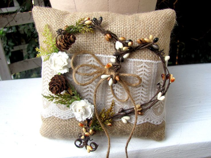 Rustic woodsy burlap and lace ring bearer pillow with brown berry pip heart, pinecones, ivory roses, rustic barn wedding, country wedding by BelisamaStyle on Etsy