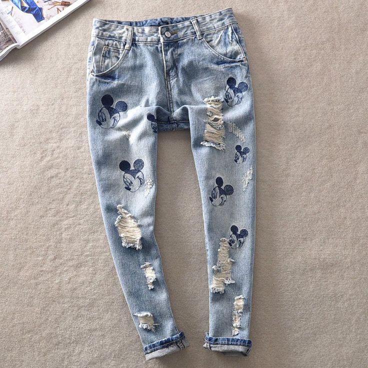 Mickey Mouse Boyfriend Harem Jeans