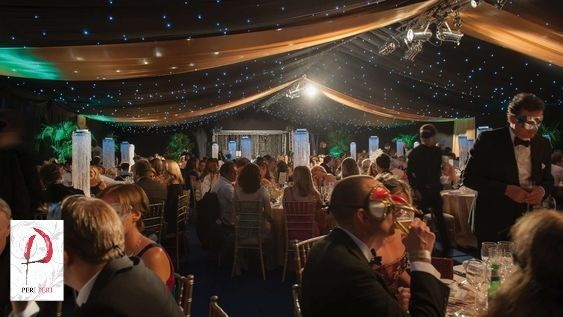 Why not have your guests star-gazing during their meal with this star-cloth ceiling? #marquee #event