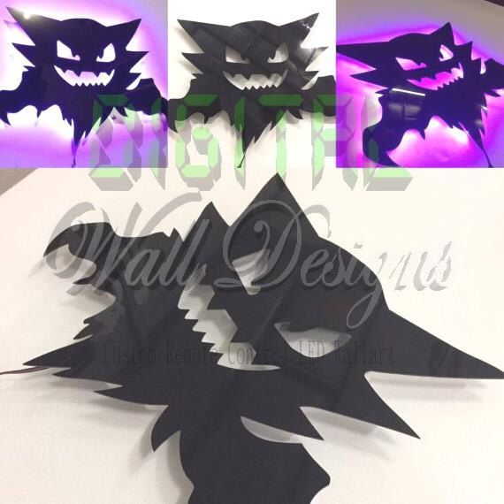 Remote Controlled Haunter Pokemon LED Backlit Wall Art kids children night light by DigitalWallDesigns on Etsy https://www.etsy.com/au/listing/245380269/remote-controlled-haunter-pokemon-led