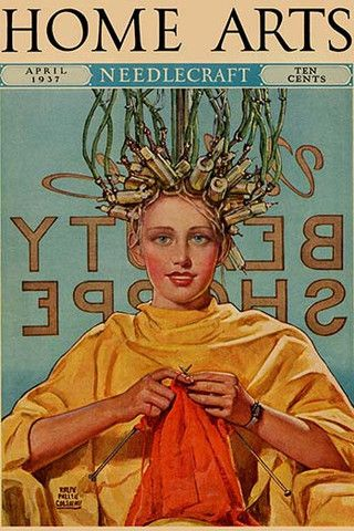 Woman in Curlers Knits. High quality vintage art reproduction by Buyenlarge. One of many rare and wonderful images brought forward in time. I hope they bring you pleasure each and every time you look