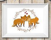 Illustrazione Coppia Volpi innamorate, Stampa animali del bosco, Decorazione da parete stampata su carta spessa