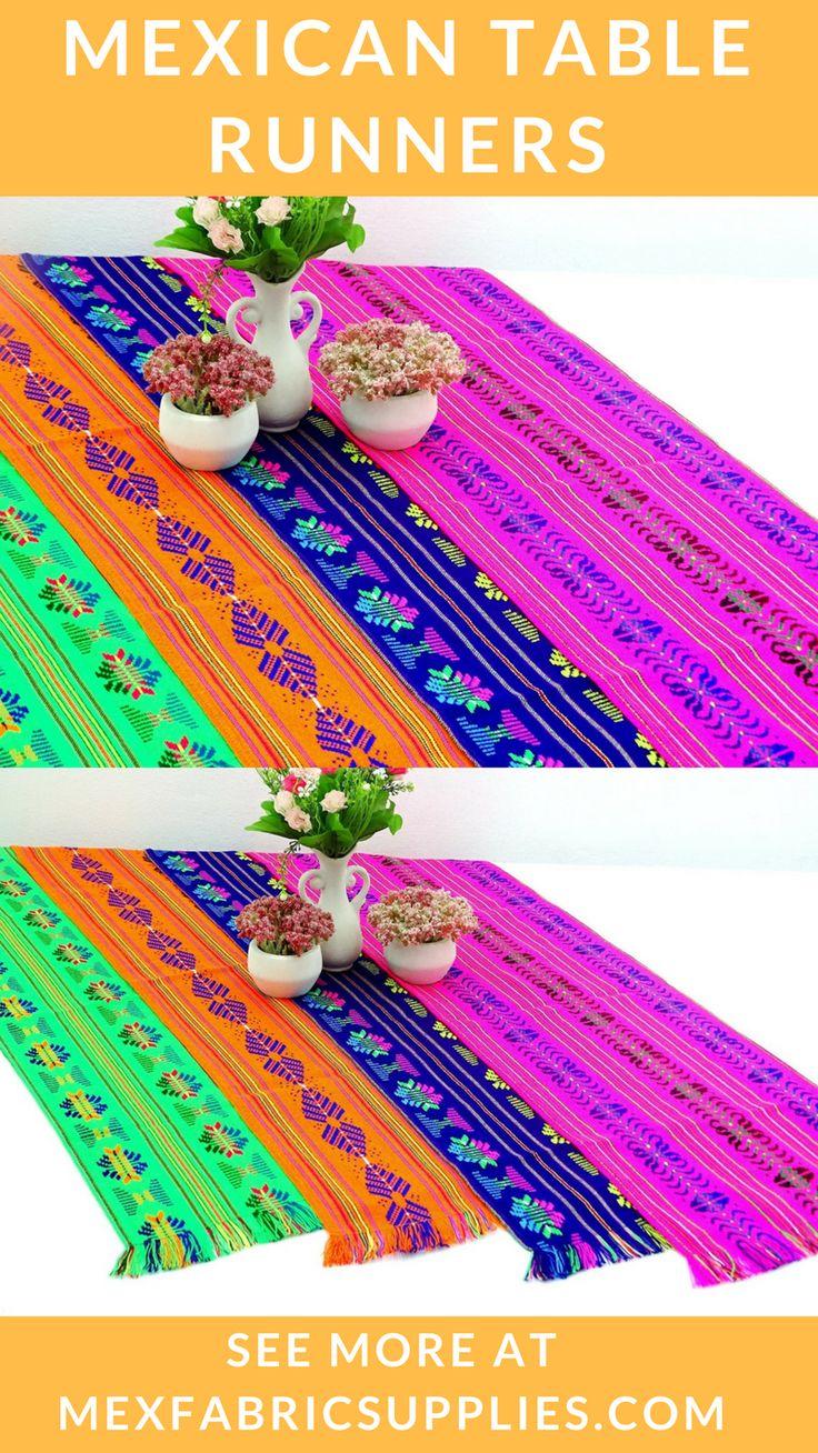 Plan your fiesta at Mexfabricsupplies.com | Fiesta table runners | Fiesta theme | Fiesta theme decor | Mexican fabric | Fiesta ideas| Mexican centerpieces| Mexican serape fabric