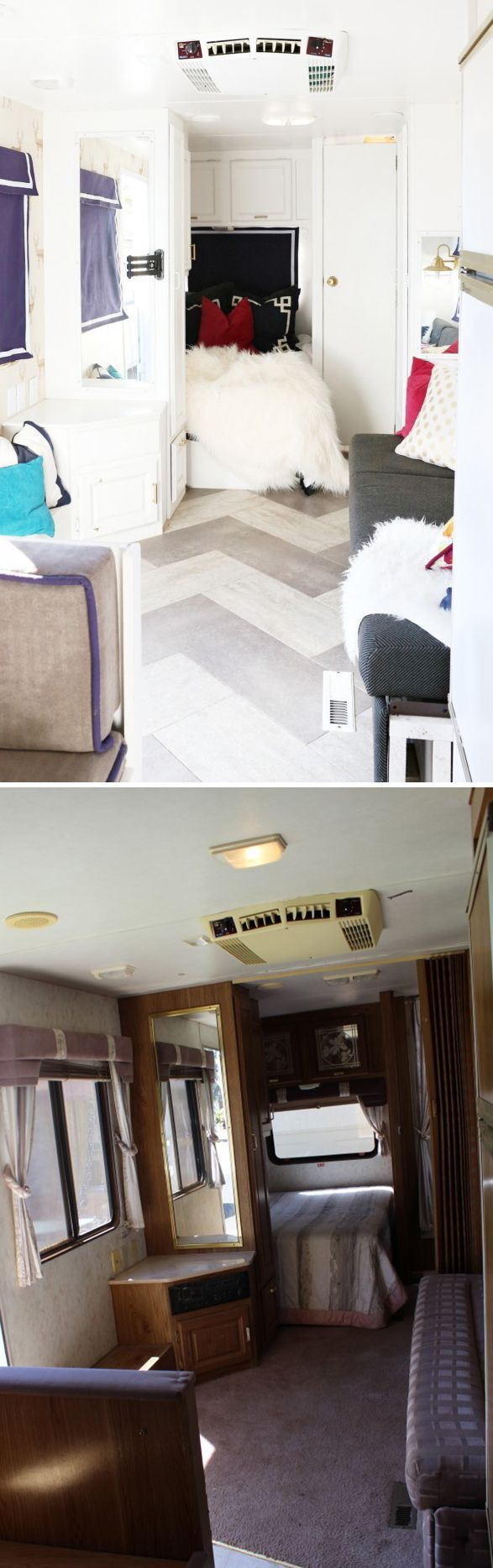 This cool 1990s camper was in need of a complete trailer remodel. See how installing peel-and-stick vinyl flooring was a easy way to make a big improvement.