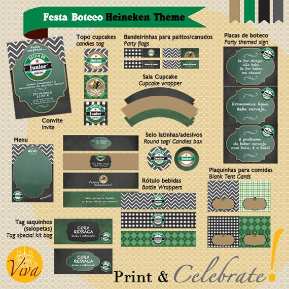 Festa Boteco Heineken Theme  Custom by VivaPrintCelebrate on Etsy