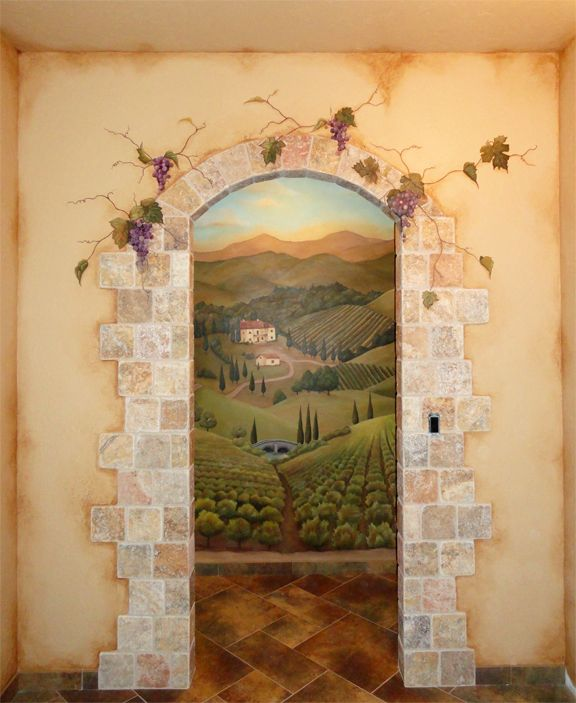 painted mural of an open door on a wall | RK Brushworks - Tuscan Countryside…