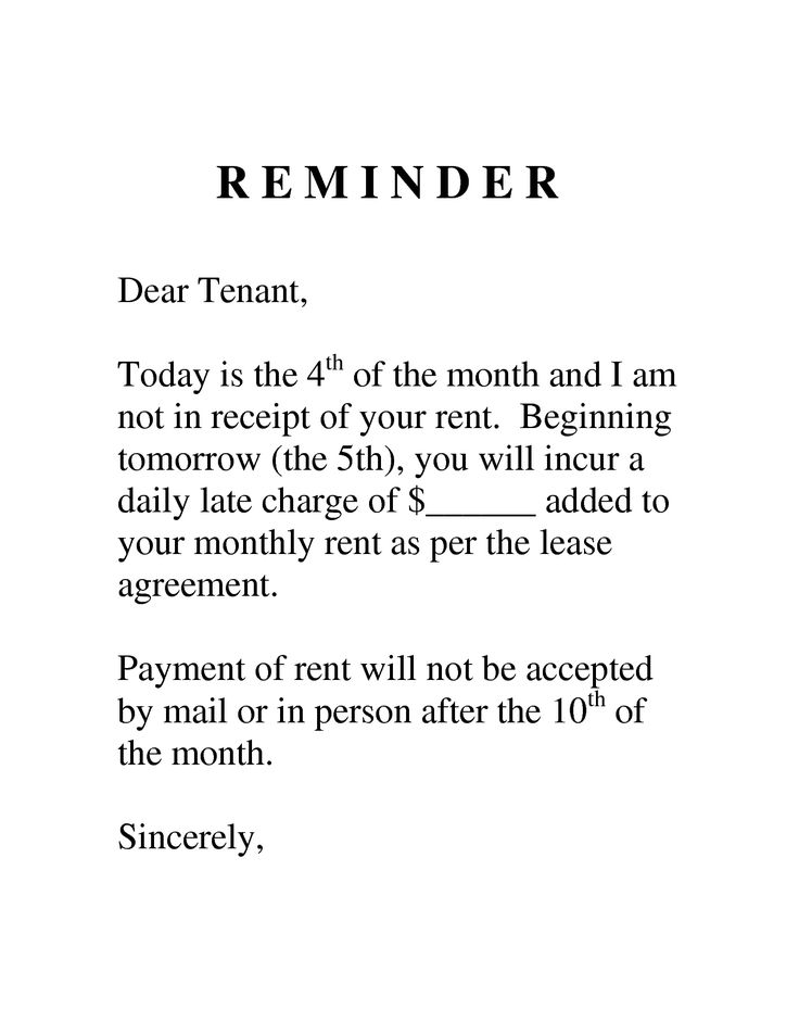 sample letter to tenant for late payment