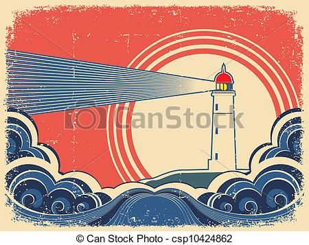 Vector - Lighthouse with blue sea.Grunge background - stock illustration, royalty free illustrations, stock clip art icon, stock clipart icons, logo, line art, EPS picture, pictures, graphic, graphics, drawing, drawings, vector image, artwork, EPS vector art