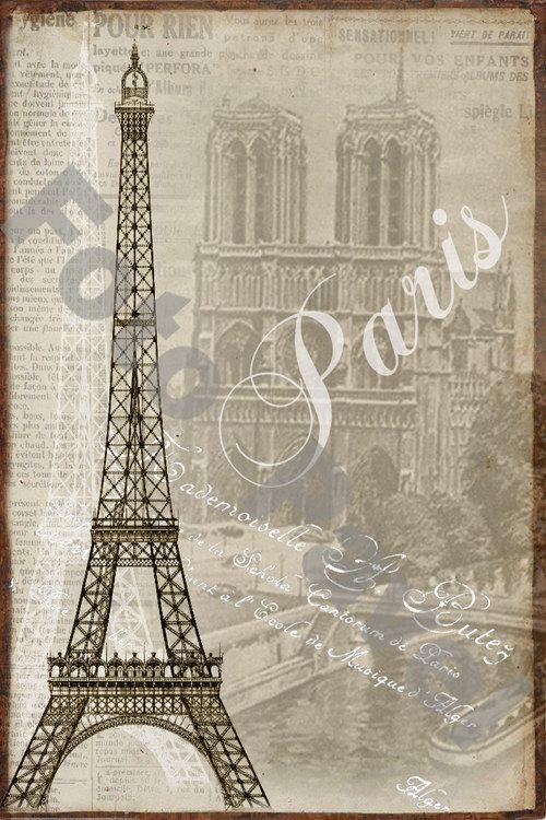 Vintage motiv -  Paříž, Eiffelovka, Notre Dame