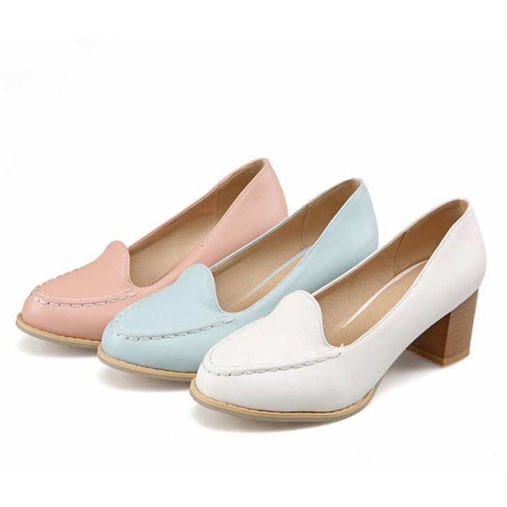 Womens High Heels Thick Heel Ladies Pumps Party Shoes