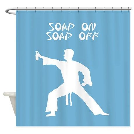 Karate Kid parody funny shower curtain on CafePress.com