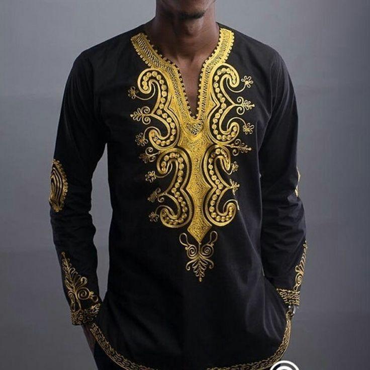 Afrique Bazin Riche Robes Vente Chaude Coton Robe Africaine 2016 Nouveau Style de Mode Hommes Col V À Manches Longues National T-shirt