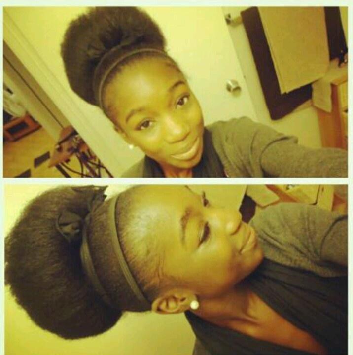 Big Bun natural hair high bun .
