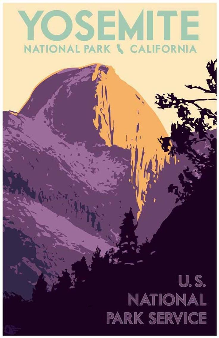 Yosemite National Park Travel Poster, Vintage National Park Print