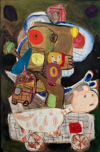 Karel APPEL (1921 - 2006) Exodus n° 1, 1951 Gouache, coloured pencils 100 x 65 cm Signed and dated lower left #KarelAppel #Appell #Salondudessin2016 Applicat Prazan