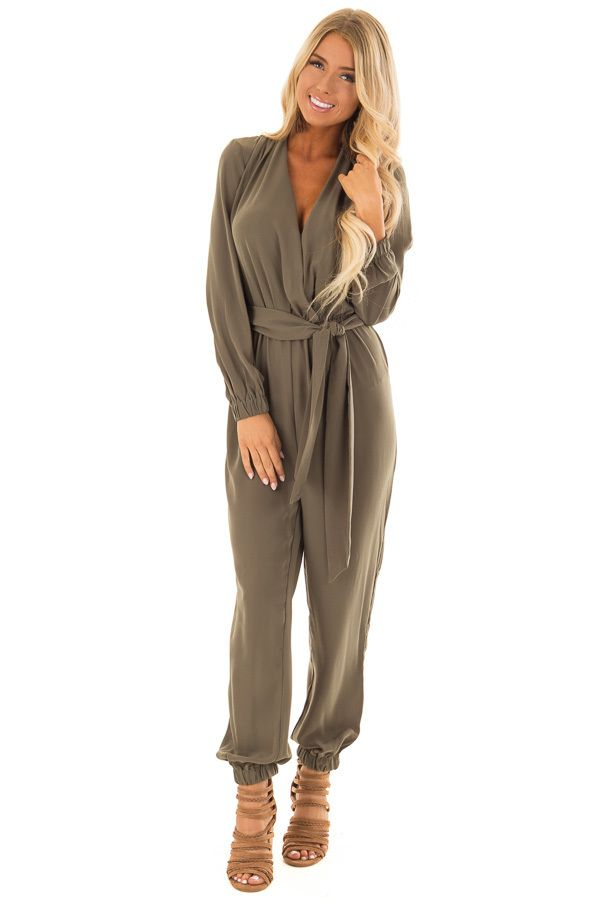 1abd160d53f New Women s Cute Boutique Clothing Arrivals. Olive Long Sleeve Jumpsuit  with Waist Tie front full body