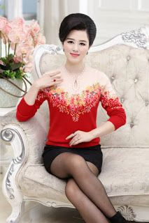 Autumn and winter in elderly women's mink cashmere sweater collar shirt printing high-grade mother dress cheongsam collar sweater