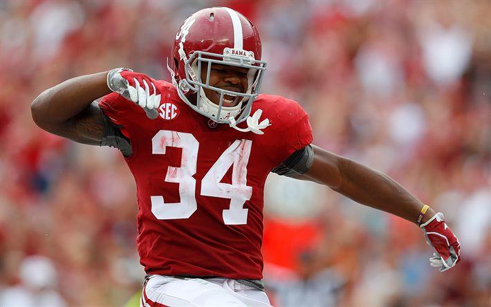 Download wallpapers Damien Harris, 4k, american football, quarterback, Alabama Crimson Tide, NFL