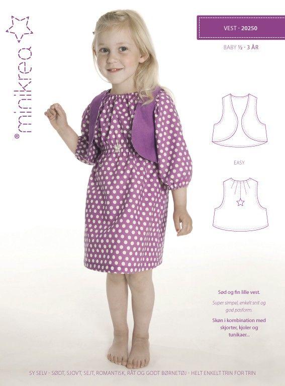 Naaipatroon van een vest voor net dat extra bij de meisjes garderobe of de feestkleding van de jongens van een half tot 3 jaar