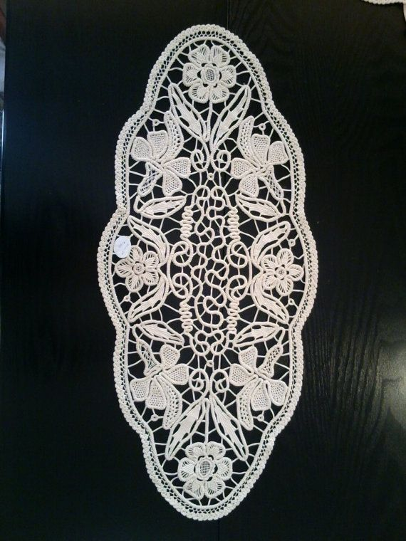 Crocheted Doily Romanian Point Lace Style Ivory by ValeriasShop