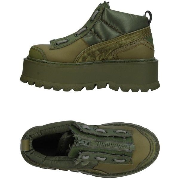Fenty Puma By Rihanna High-tops & Sneakers ($290) ❤ liked on Polyvore featuring shoes, sneakers, military green, puma high tops, wedge high tops, olive green sneakers, wedge sneaker and puma trainers