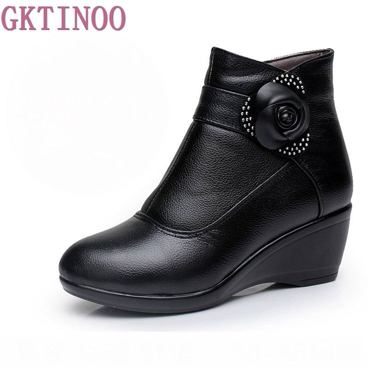 New 2017 women boots women genuine leather winter boots warm plush autumn boots winter wedge shoes woman ankle boots size 30-43 #Affiliate