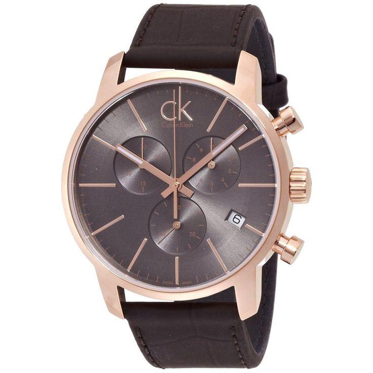 Calvin Klein K2G276G3 Men's CK City Dark Grey Dial Brown Leather Strap Chronograph Dress Watch
