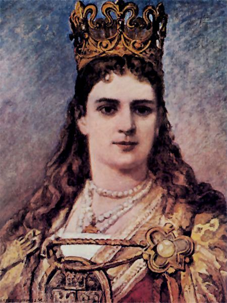 Jadwiga of Poland, by Jan Matejko (She became the King - not Queen - of Poland at the age of 13)